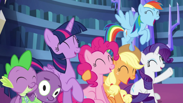 File:Mane five and Spike excited about Fluttershy joining S5E21.png