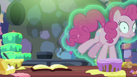 Pinkie Pie floating out of the kitchen S6E21