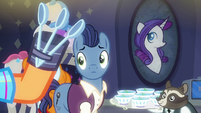 Stallion looking at Plaid Stripes' spoons S6E9
