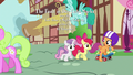 Cutie Mark Crusaders walking through Ponyville S6E19.png