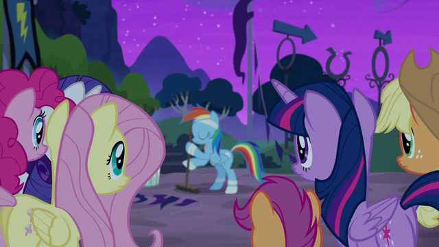 File:Rainbow Dash approached by friends S6E7.png