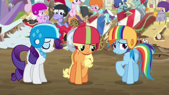 File:Rarity, AJ, and Rainbow feeling ashamed S6E14.png