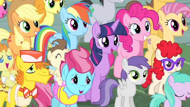 File:Twilight and friends in Sugarcube Corner crowd S4E14.png