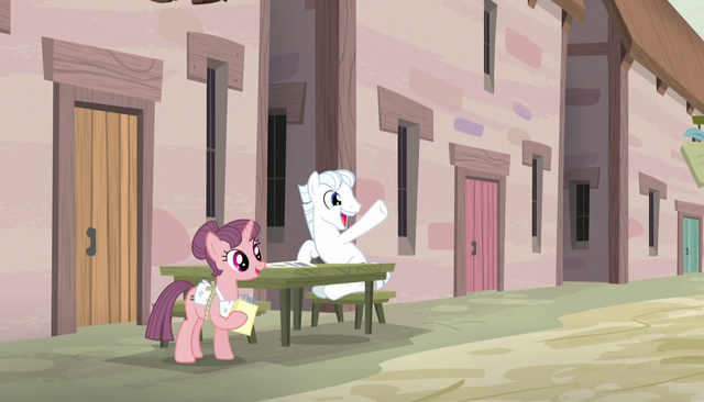 File:Double Diamond sits across from Mane Six S5E1.png