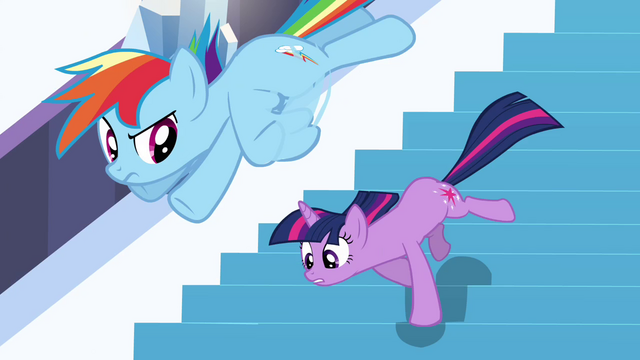 File:Twilight and Rainbow heading down the stairs S3E2.png
