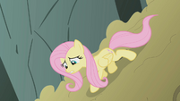 Fluttershy inching down the dirt mound S1E07
