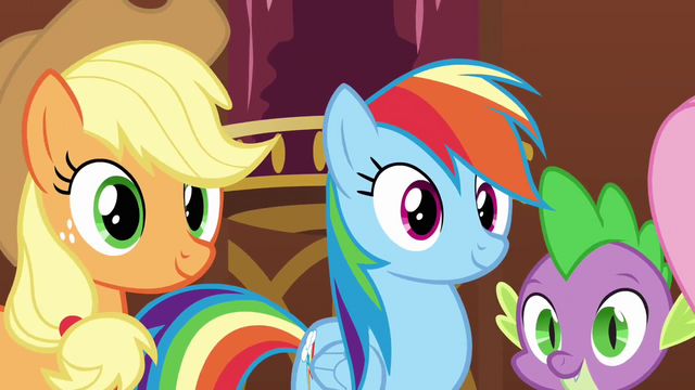 File:Applejack Rainbow and Spike smiling at Pinkie S3E3.png