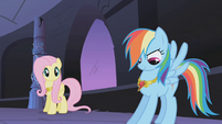 Rainbow Dash admires her necklace S01E02