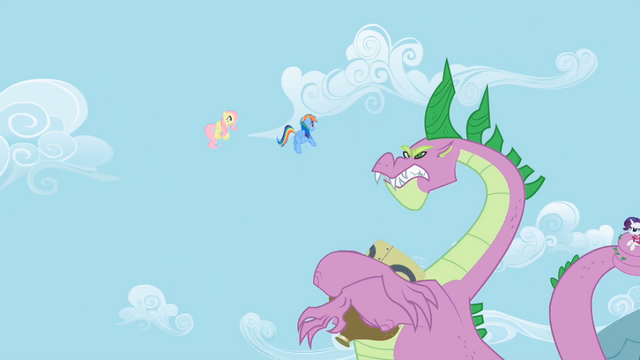File:Rainbow Dash and Fluttershy look at Spike S02E10.png
