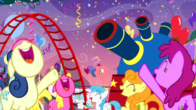 File:The ponies cheering S4E12.png