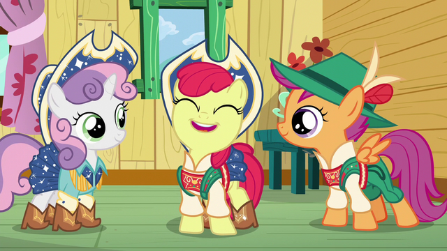 "File:Apple Bloom ""the more chances we'll have to finally get our cutie marks!"" S6E4.png"