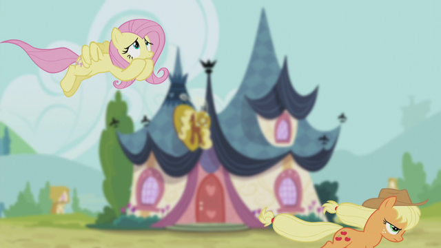 File:Fluttershy and Applejack follow the bugbear S5E9.png