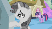 Grey Rarity admiring rock S2E2