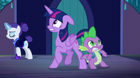 Twilight and Spike taking in the castle S5E26