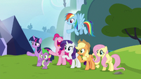 Mane Six and Spike wave goodbye to Starlight Glimmer S6E25