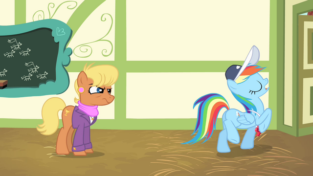 "File:Rainbow Dash leaves ""professionally"" S4E05.png"
