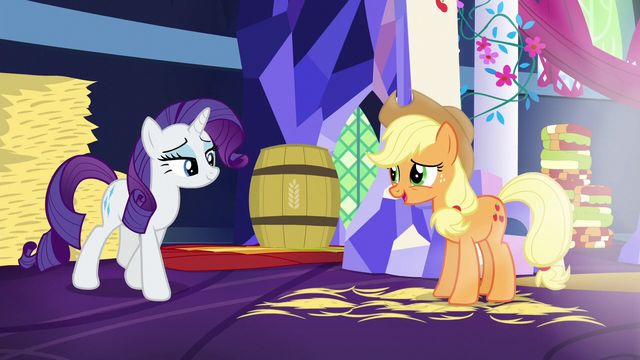 File:Applejack halfheartedly compliments Rarity S5E3.png