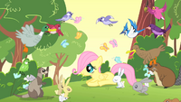 Filly Fluttershy surrounded by her new friends S1E23.png