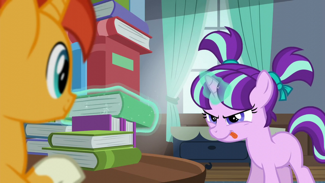 File:Filly Starlight trying to levitate a book out of the book tower S5E26.png