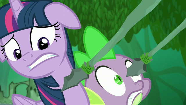 File:Spears being pointed even closer to Twilight and Spike S5E26.png