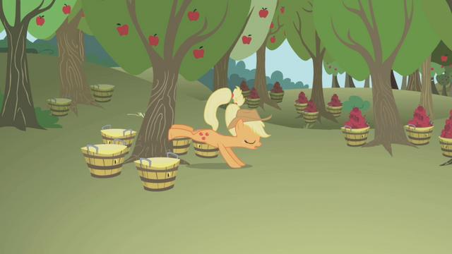 File:Applejack bucking a tree S1E04.png