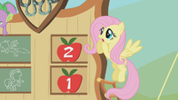 Fluttershy sees Spike come crashing down S01E13