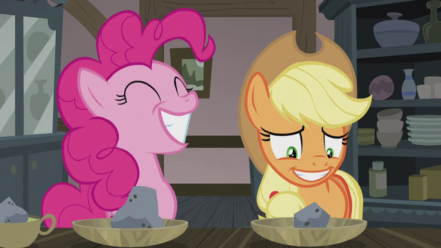 File:Pinkie smiling wide; AJ smiling thin S5E20.png