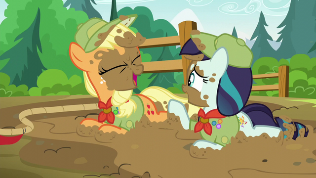 File:Applejack and Rara having a laugh together S5E24.png