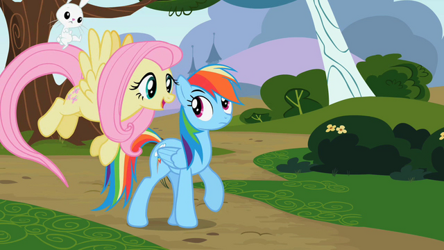 File:Angel on Fluttershy's tail S2E07.png