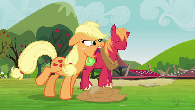 File:Applejack tells the Pinkie clones to come back S3E03.png
