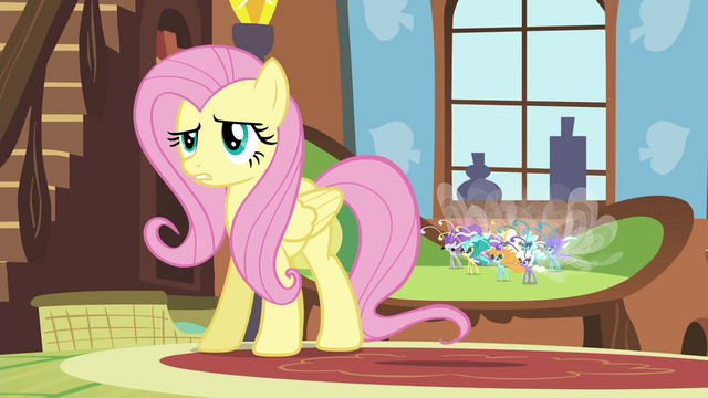 "File:Fluttershy confused by Seabreeze's ""pep talk"" S4E16.png"