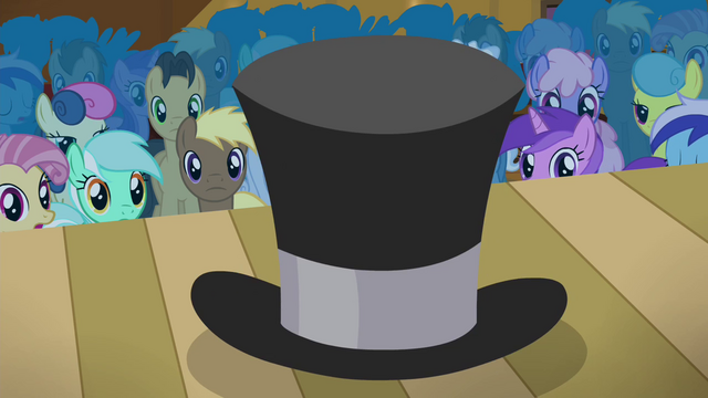 File:Ponies stare at the top hat S4E25.png