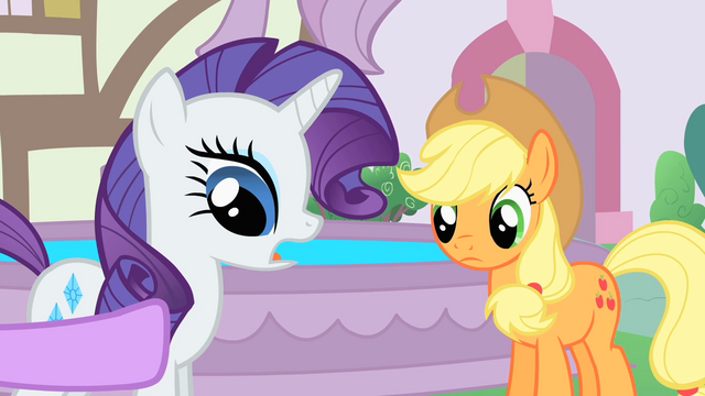 File:The ponies talking near the fountain S1E22.png