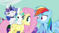 Rainbow sees Fluttershy with Opal and Angel S4E21