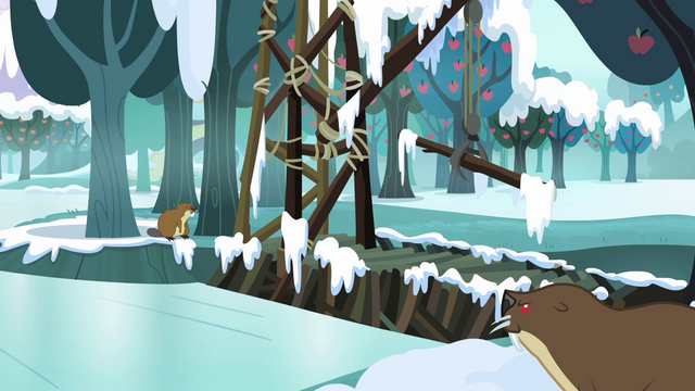 File:Beavers with dam at Sweet Apple Acres S03E10.png