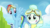 Vapor Trail grins nervously at Sky Stinger S6E24
