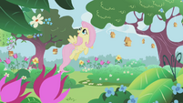 Fluttershy in the castle gardens S1E3