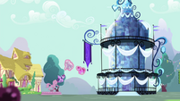 Twilight in front of crystallized gazebo S4E23