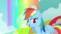 Rainbow Dash in front of rainbow S3E6