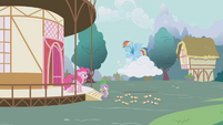 Pinkie and RD laughing at Spike S1E05