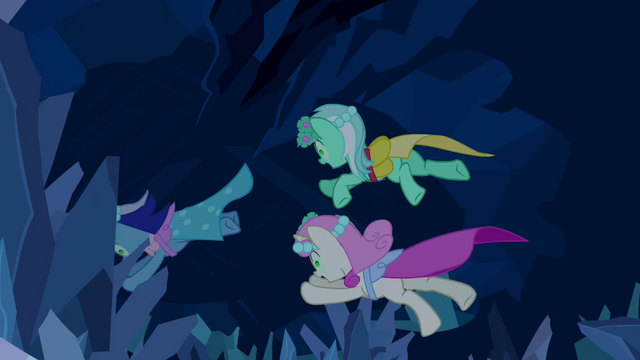 File:Minuette, Lyra Heartstrings and Twinkleshine jump after the bouquet S2E26.png