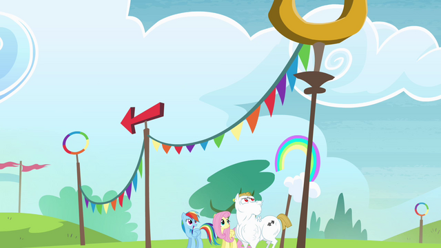 File:Rainbow, Fluttershy and Bulk looking up S4E10.png