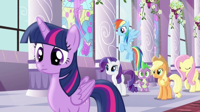 File:Rest of mane six looking at Pinkie S4E01.png