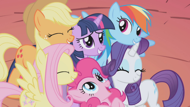 File:Mane 6 group hug S1E03.png