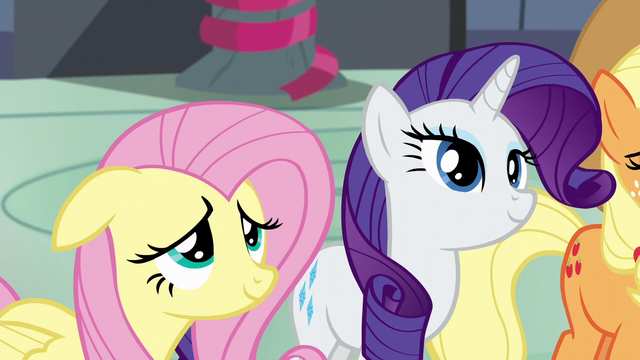 File:Fluttershy and Rarity looking at Rainbow S6E7.png