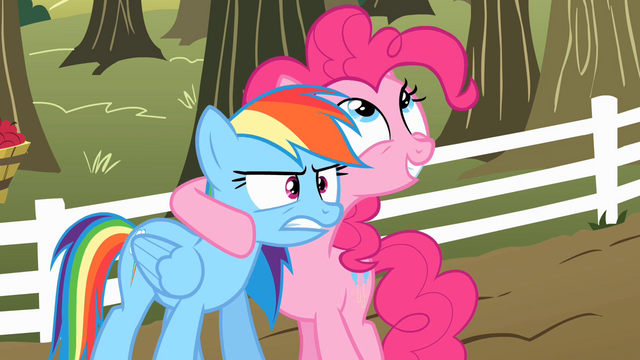 File:Pinkie Pie talking to Rainbow Dash about the cider S2E15.png