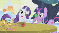 Rarity asks Twilight if she wants to try S1E11