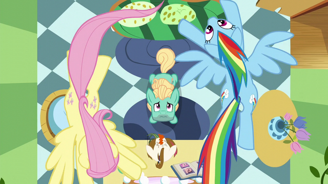 File:Fluttershy and Rainbow fly in a circle over Zephyr S6E11.png
