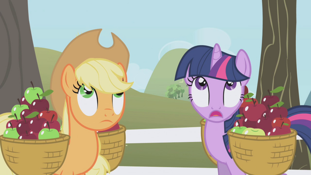 File:Twilight and Applejack looking up S1E03.png