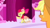 Apple Bloom pushes the curtain open S5E7